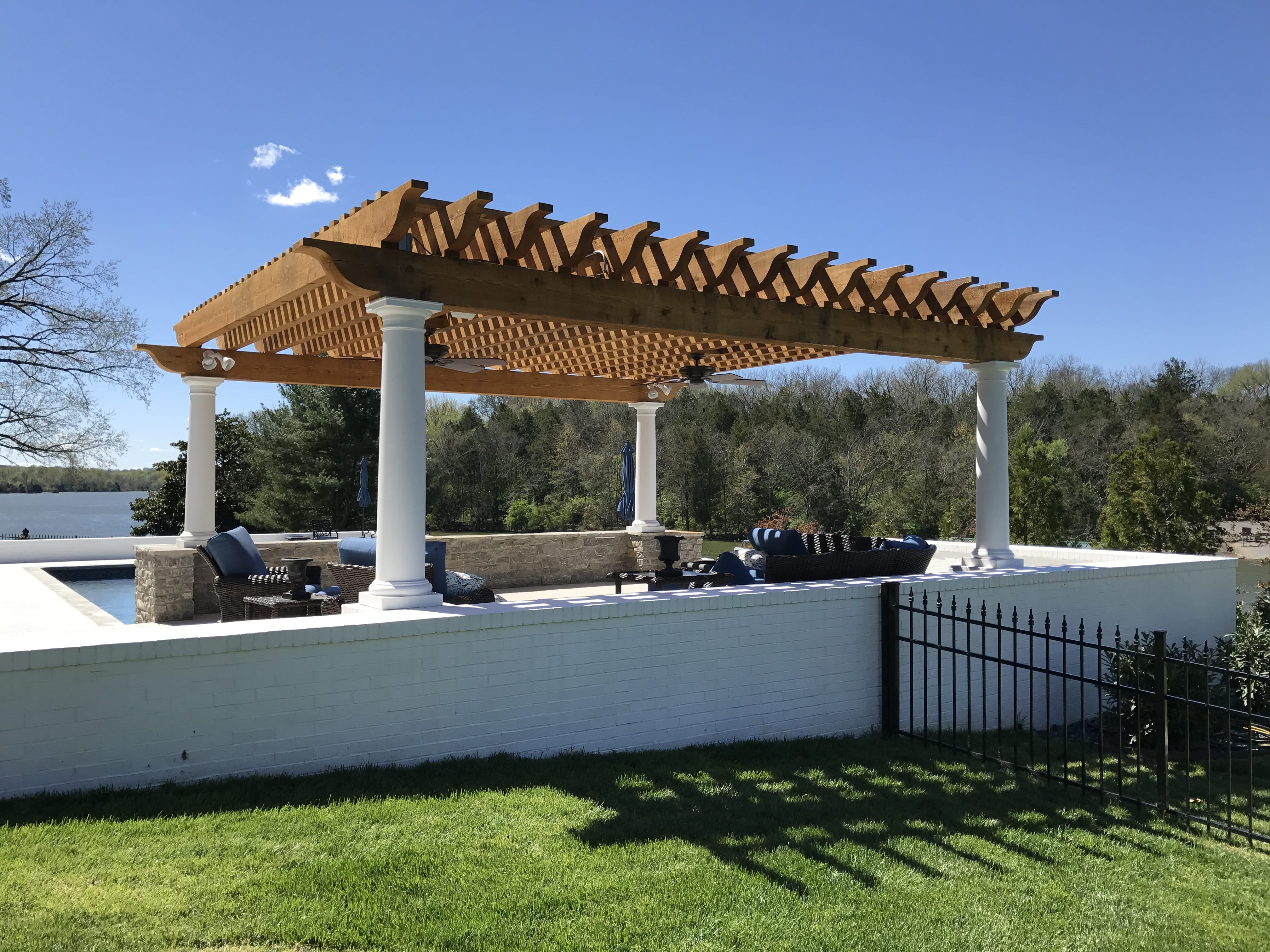 Pergola and outdoor living space construction.